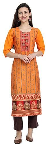 1 Stop Fashion Women Orange Floral Regular Kurta