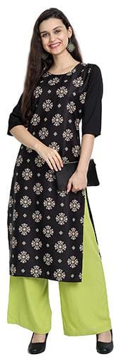 1 Stop Fashion Women Black Floral Regular Kurta