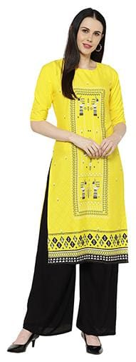 1 Stop Fashion Women Yellow Printed Regular Kurta