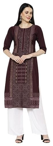 1 Stop Fashion Women Purple Printed Regular Kurta