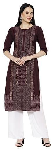 1 Stop Fashion Women Purple Printed Regular Kurta