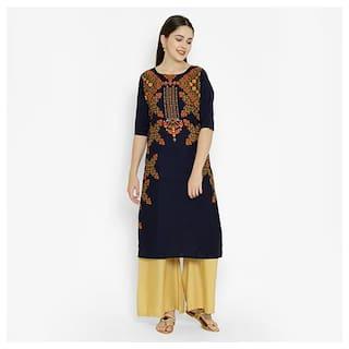 1 Stop Fashion Women Blue Printed Regular Kurta