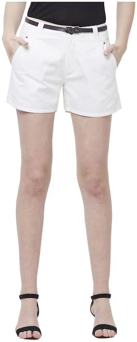 109°F Women Solid Regular shorts - White