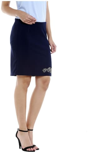 109°F Solid Straight skirt Mini Skirt - Blue