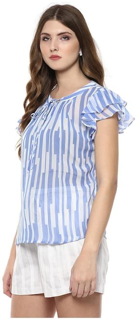 109 F  Blue Striped Top With Ruffle Sleeves M Size