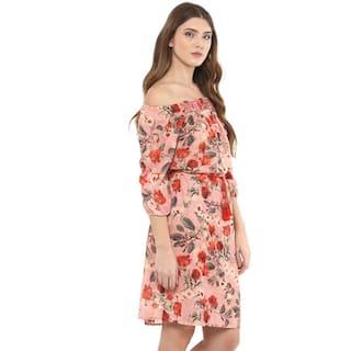 Floral Bardot Dress Print 109°F Neckline XaZwWq