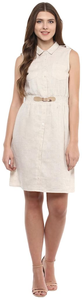 109°F Cotton Solid Fit & flare dress Beige