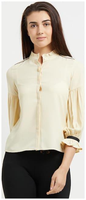 109°F Women Regular Fit Solid Shirt - Beige