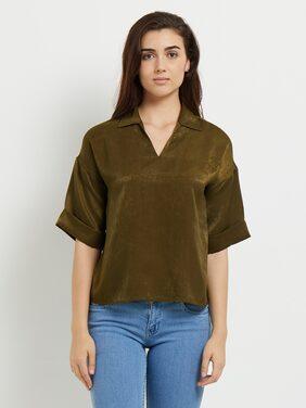 109°F Women Regular Fit Solid Shirt - Green