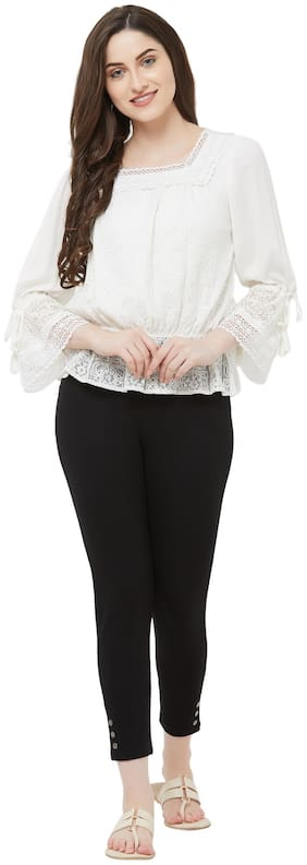 109°F Women Embroidered Regular top - White