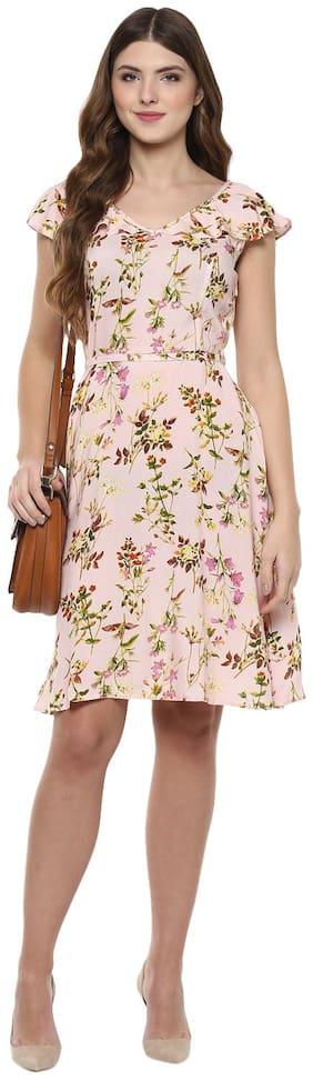 109°F Viscose Printed Fit & Flare Dress Multi