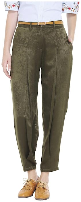 109°F Women Regular fit Mid rise Solid Regular pants - Green