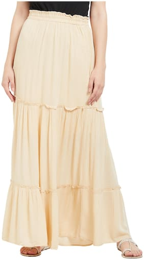109°F Women Blended Solid Straight Skirt Beige