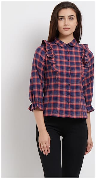 109°F Women Blue Checked Regular Fit Shirt