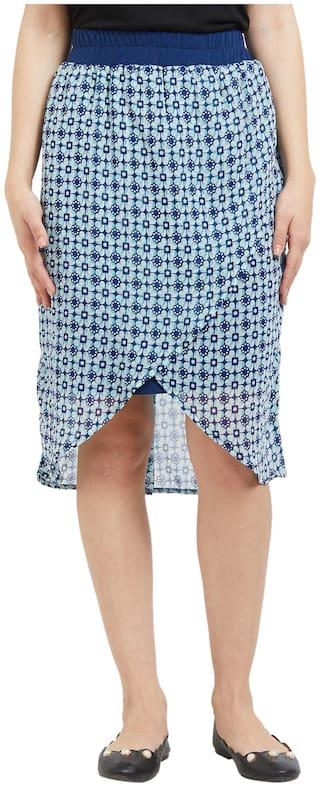 109°F Printed Straight skirt Mini Skirt - Blue
