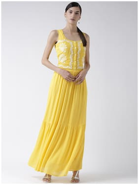109°F Viscose Embroidered Fit & Flare Dress Yellow