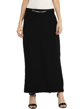 109°F Solid Flared Skirt Maxi Skirt - Black