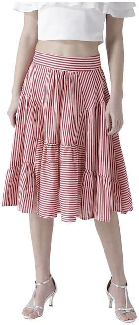 109°F Striped A-line skirt Midi Skirt - Red