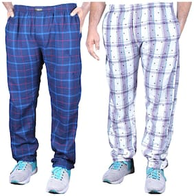 1ly Garments, Men's Pyjama, Pack of 2 pieces, Solid + Checked