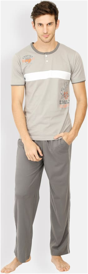 Euphora Cotton Night Suit - Top and bottom set , Grey