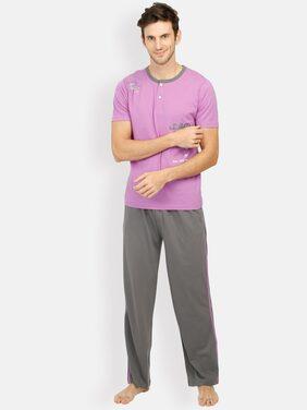 Euphora Cotton Top And Bottom Set Night Suit - Purple