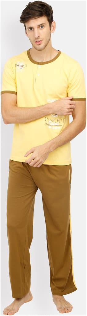 Euphora Cotton Night Suit - Top and bottom set , Yellow