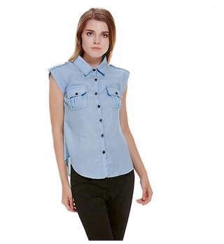 2018 Summer Fashion Women Short Sleeve Denim Shirts Casual Jeans Shirt S