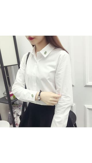 Women Clothing Down Cotton Women Pattern New Shirt Long Sleeve Blouses Pure Fashion Shirts Shirt Turn Collar 2017 Embroider ASxTZ8Hwq8