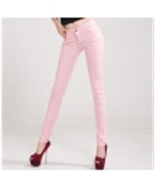 2017 Spring Fall Khaki Stretch Pants Women's Candy Pants Pencil Trousers For Women Slim Ladies Jean Trousers 31(Pink)