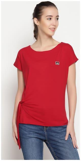 Women Red Regular fit Round neck Cotton T shirt