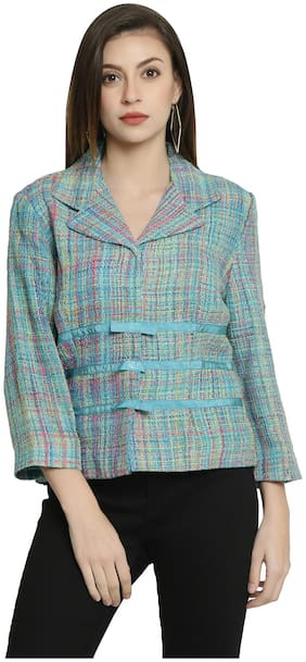 250 DESIGNS Women Checked Regular FIt Blazer - Multi