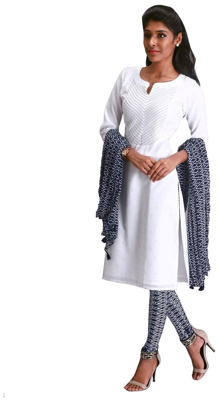 0e49c160eaf4ba Buy 3Pce Set - Estyle Pure White Kurta With Printed Leggings And Dupatta  Online at Low Prices in India - Paytmmall.com