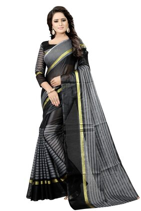 4Tigers Blended Universal Lace Work Saree - Black