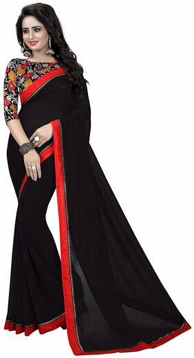 4Tigers Georgette Universal Lace Work Saree - Black