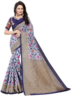 4Tigers Cotton Bhagalpuri Block Print Work Saree - Blue