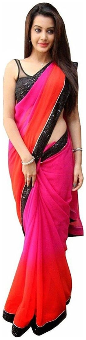 4Tigers Georgette Universal Lace work Saree - Pink , With blouse