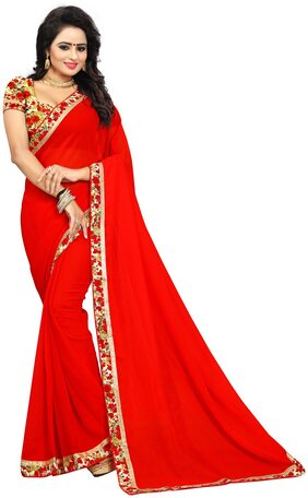 4Tigers Georgette Universal Lace Work Saree - Red