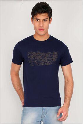 90fun Men Regular Fit Crew Neck Printed T-Shirt - Navy Blue