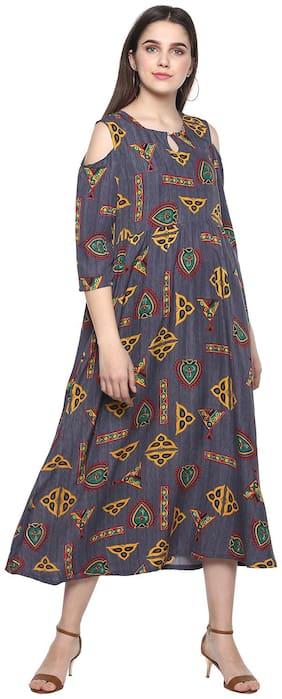 Women Printed A Line Fusion Dresses