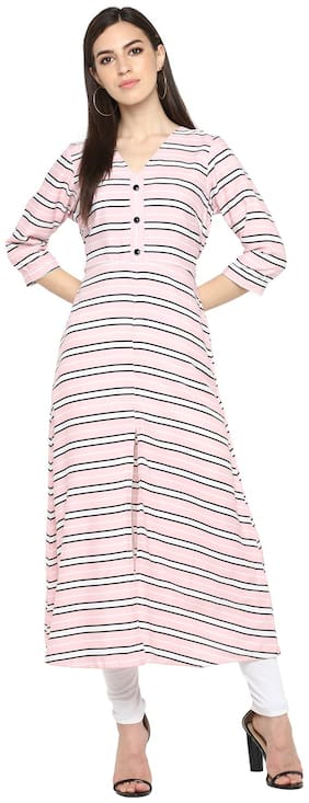 Women Striped A Line Kurti Dress
