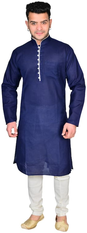 A ForeAN Cotton Solid Navy Blue and White Color Kurta & Salwar For Men