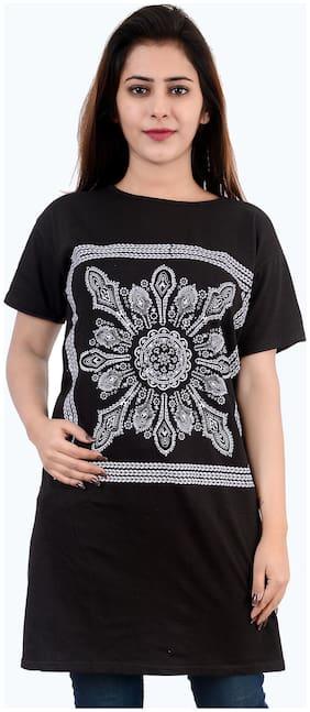 A.G FASHION Women Black Loose fit Round neck Viscose rayon T shirt
