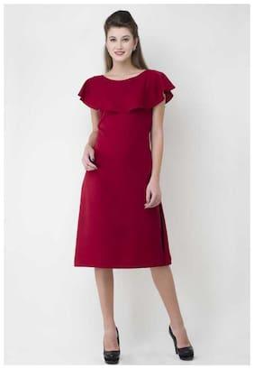 ZISAAN Maroon Solid A-line dress