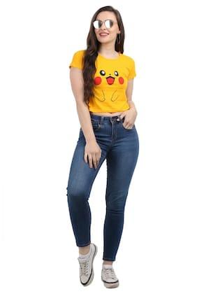 A P CREATION Women Yellow Slim fit Round neck Cotton T shirt