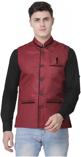 A P CREATION Men Maroon Solid Regular Fit Ethnic Jacket