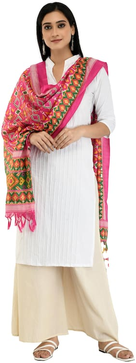 A R SILK Blended Magenta Embroidered Dupatta  For Women
