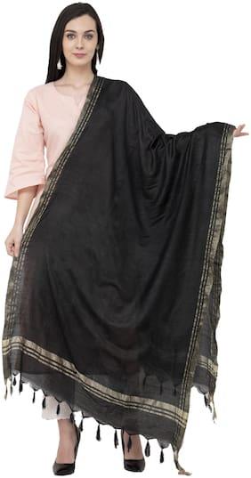 A R Silk Golden Border Regular Dupatta Color Black Dupatta/Chunni