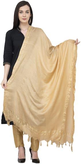 A R Silk Golden Border Regular Dupatta Color Golden Dupatta/Chunni
