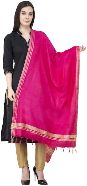 A R SILK Golden Border Regular Dupatta Dark Pink Color Dupatta/Chunni