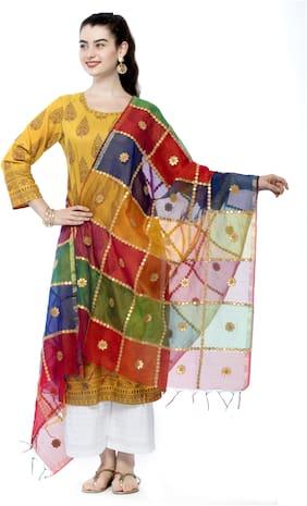 A R SILK Chanderi Multi Checkered Dupatta  For Women